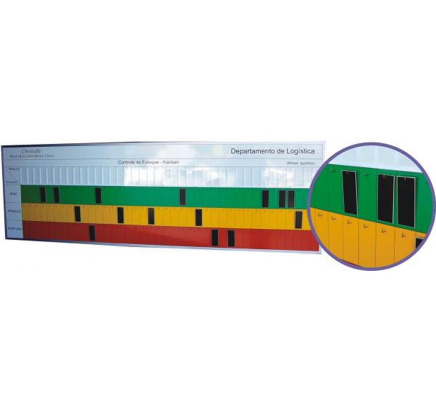 Quadro de gestão visual em kanban para estoque com ganchos – KANB09